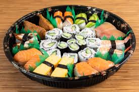 absolutely beautiful ood art bring this tray to the party and impress everyone two pieces each of salmon sushi tuna sushi smoked salmon sushi