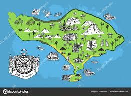 векторная карта острова бали эскиз компасом векторное изображение