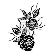 Nálepka černá Růže Květ Tetování Izolovaný Vektor