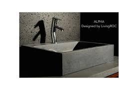 22 gray granite natural stone bathroom sink faucet hole alpha