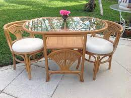 small rattan bamboo dining table
