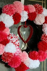 valentine wreaths for your front doorhomemade Valentines Pom Pom Wreath