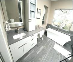 gray quartz countertops master bathroom using sparkle and x stone as flooring with dark cabinets kitchen