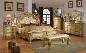 Furniture World Lavish Gold Queen Bed Rich Gold Marble Details Crystal  Tufted Leather