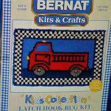 latch hook rug kit fire truck bernat kids collection tool included new sealed