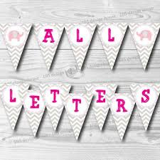 Printable Chevron Letters Pink Chevron Banner Printable With All Letters Instant Download Create Your Own Phrases For Baby Shower Banner Printable Pink Banner