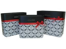 damask office accessories. Black, White \u0026 Damask Tote Set With Red Ribbon Office Accessories