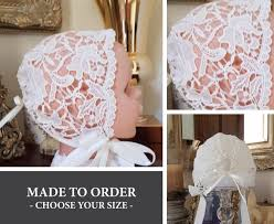 Cream Lace Baby Bonnet Any Size Nb To 18 Months Made To Order Vintage Sofia Style Sheer Custom Baby Hat With Ribbon Ties Photo Prop