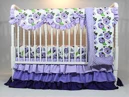 purple watercolor fl baby bedding