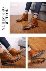 fashion men s martin boots british style brogue boots shoes men oxford shoes for men genuine leather