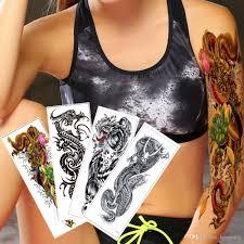 поддельные большой большой временные наклейки татуировки полный рука дракон