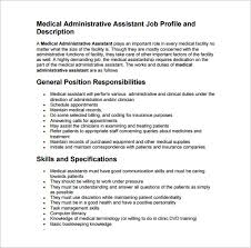 Duties Of A Medical Assistant For A Resumes 9 Medical Assistant Job Description Templates Free Sample