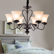 6 light black wrought iron chandelier with glass shades dk 2039 6