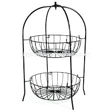 3 tier wall basket metal fruit baskets hanging wire shelf shelves with hooks bask