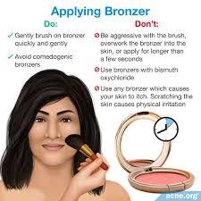 applying bronzer to acne e skin