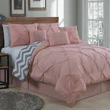 queen king bed pink blush gray pintuck