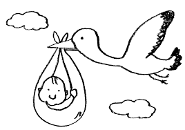 コウノトリに運ばれてくる赤ちゃんのイラスト えんぴつと画用紙