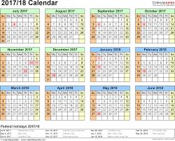 split year calendar 2017 18 year at a glance 1 page