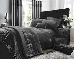 antionette collection matt satin and sequin bedding set in black