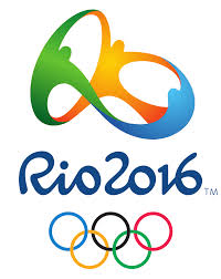 summer olympics a green gold and blue coloured design featuring three people joining hands in a