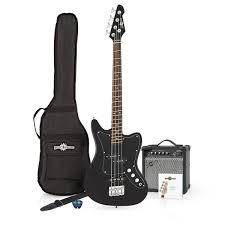 seattle short scale bass guitar 15w amp pack black