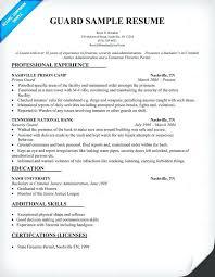 Club Security Officer Sample Resume Impressive Security Officer Resume Datainfo
