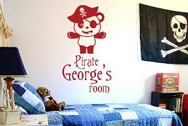 Personalised Pirate Captain Panda Kids Room Sign Wall Sticker