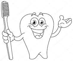 D Crit Les Dent De La Bande Dessin E Avec La Brosse Dents