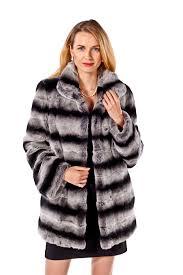 rex rabbit fur coat chinchilla fur trim wing collar plus size