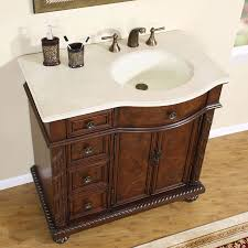 silkroad exclusive 36 single sink cabinet right sink crema marfil top undermount ivory ceramic sinks 3 hole