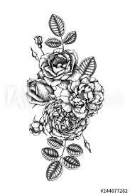 Rose Bouquet Hand Drawn Flowers Leaves Buds Vintage Botanical