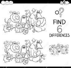 子供を犬ペット動物キャラクター塗り絵詳細教育活動を見つけることの黒と白の漫画イラスト