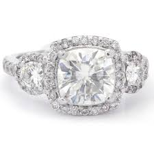 7 5mm cushion cut three stone antique style moissanite diamond engagement ring c26m