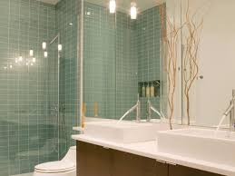 contemporary bath with glass tile walls