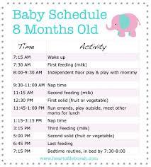 Babies Menu Planner Sample Menu For An 8 Month Old