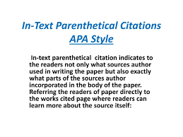 015 In Text Parenthetical Citations Apa Style L How To Cite An Essay
