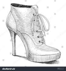 fashion boots drawing. vector drawing of woman fashion high heel shoes boots in ink engraving vintage style d