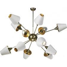 sputnik modern mid century open frame brass chandelier with ivory silk shades