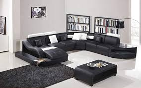 oakland living t327 sec ct bk black and white contemporary real leather furniture chaise lounge storage shelves and coffee table modern sectional living