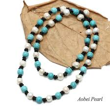 aobei pearl handmade necklace made of turquoise freshwater pearl and genuine leather beaded necklace pearl necklace ets s334