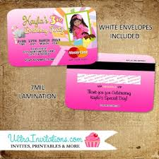 Credit Card Party Invitations Candyland Credit Card Invites Birthday Party Invitations