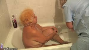 Granny recorded naked while bathing PornDoe