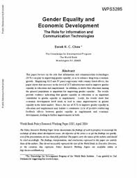 gender equality and economic development the role for information gender equality and economic development the role for information and communication technologies