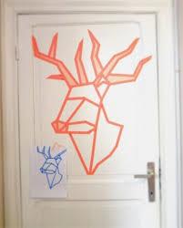 tree wall decor art youtube: washi tape wall art deer head with washi tape on the door https wwwyoutubecom watchvuotpuhvndi home pinterest reindeer tes and deer