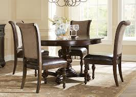 furniture round glass dining table with dark brown wooden carving from black dining room in classic