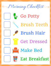 Morning Routine Chart For 5 Year Old Kids Morning Routine Checklist Homemade For Elle