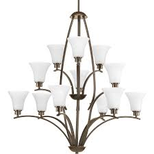 progress lighting joy 38 in 12 light antique bronze etched glass shaded chandelier