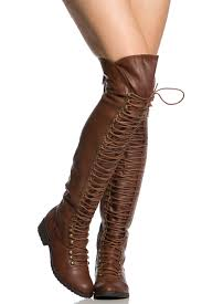 brown faux leather thigh high combat boots
