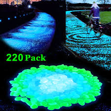 lov 220pcs glow in the dark garden pebbles glow stones rocks for walkways garden path patio lawn garden yard decor luminous decorative stones for