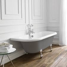 april kildwick dove grey back to wall freestanding bath